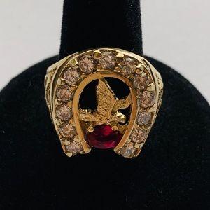 Jewelry - Real 14k Gold Men's Ring Eagle Horseshoe CZ